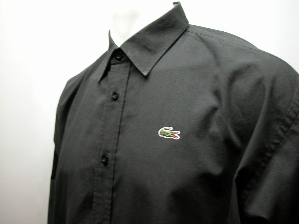 ecb26a63cc Lacoste Men's Button Up Casual Dress Shirt Size XL Black French ...