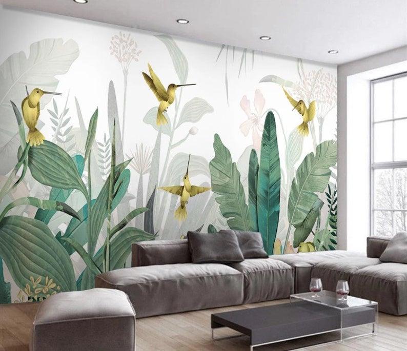 Watercolor Tropical Amazon Wallpaper Peel And Stick Wall Etsy Ide Dekorasi Rumah Mural Dinding Seni Dinding