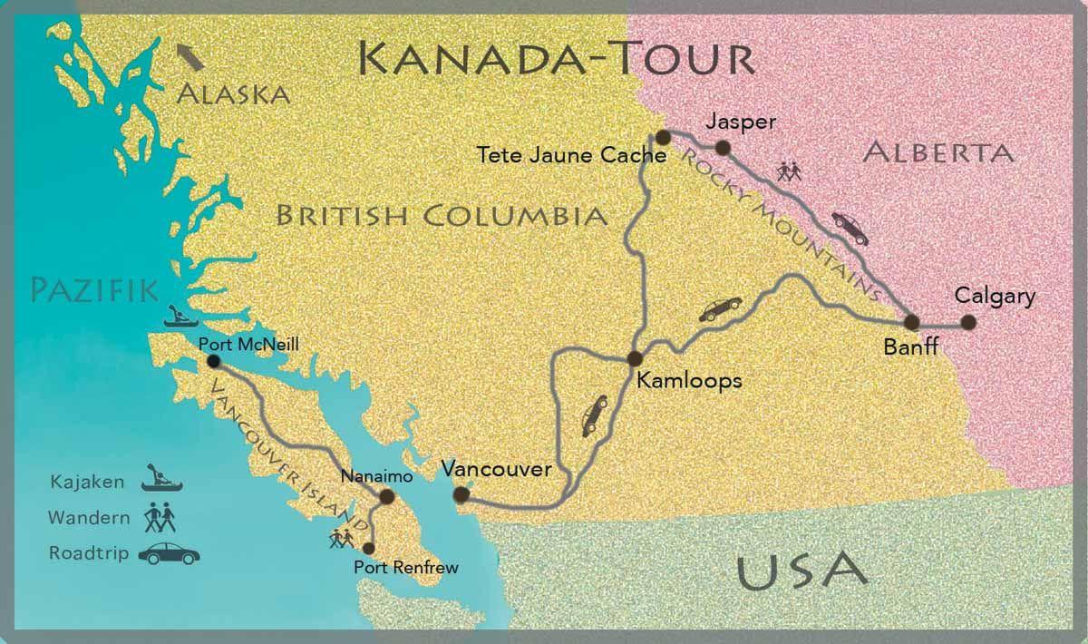 Karte der Kanada Reise | Kanada, Kanada reisen, Westkanada