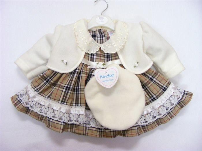 c1c97ab74 3 Piece brown cream tartan dress set -Dress jacket -beret