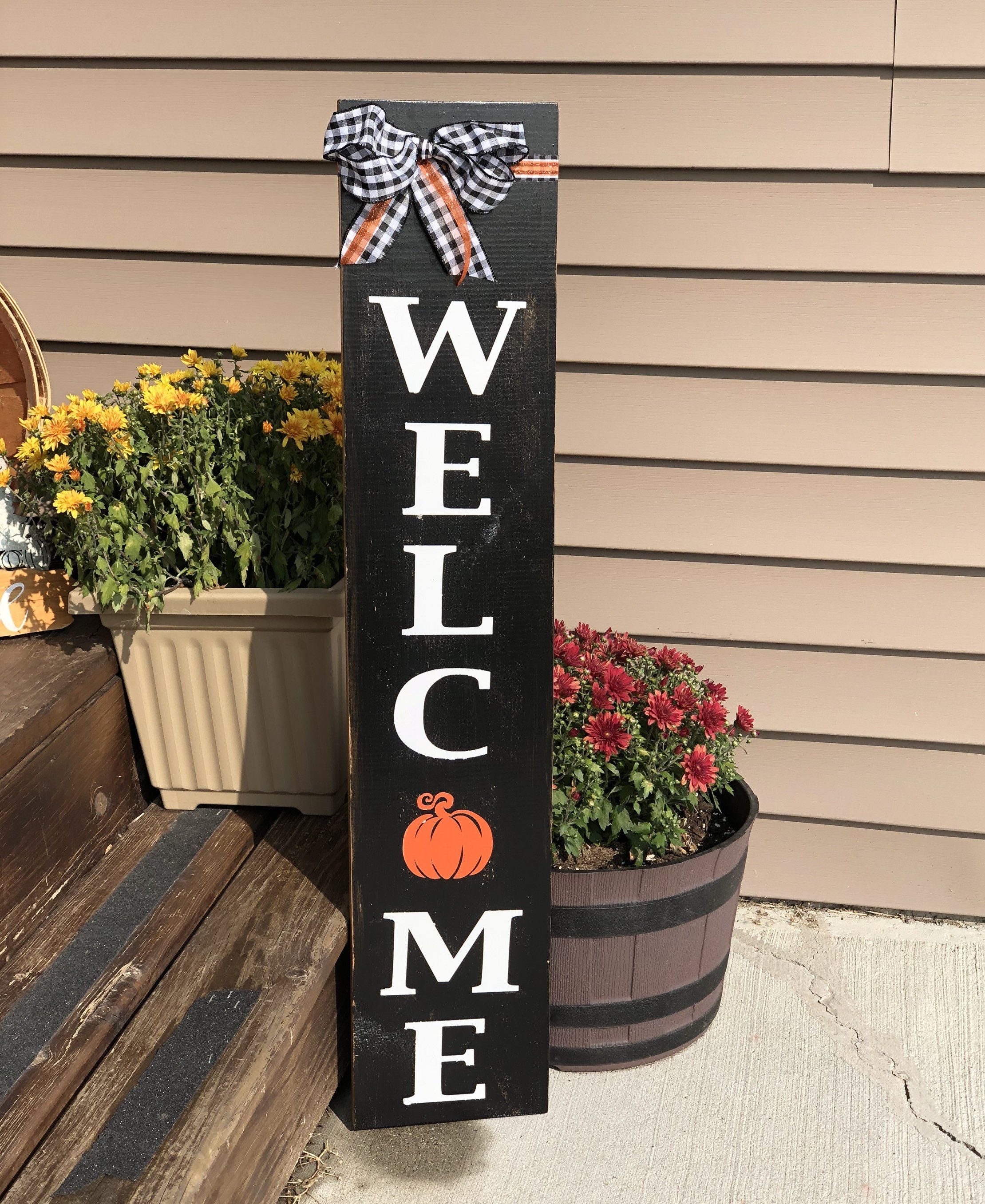 Fall Pumpkin Welcome Sign stands 3' tall. Available from my Etsy shop for $56 with free shipping! #falldecorsign #frontporchwelcome #vintagebarn_nd