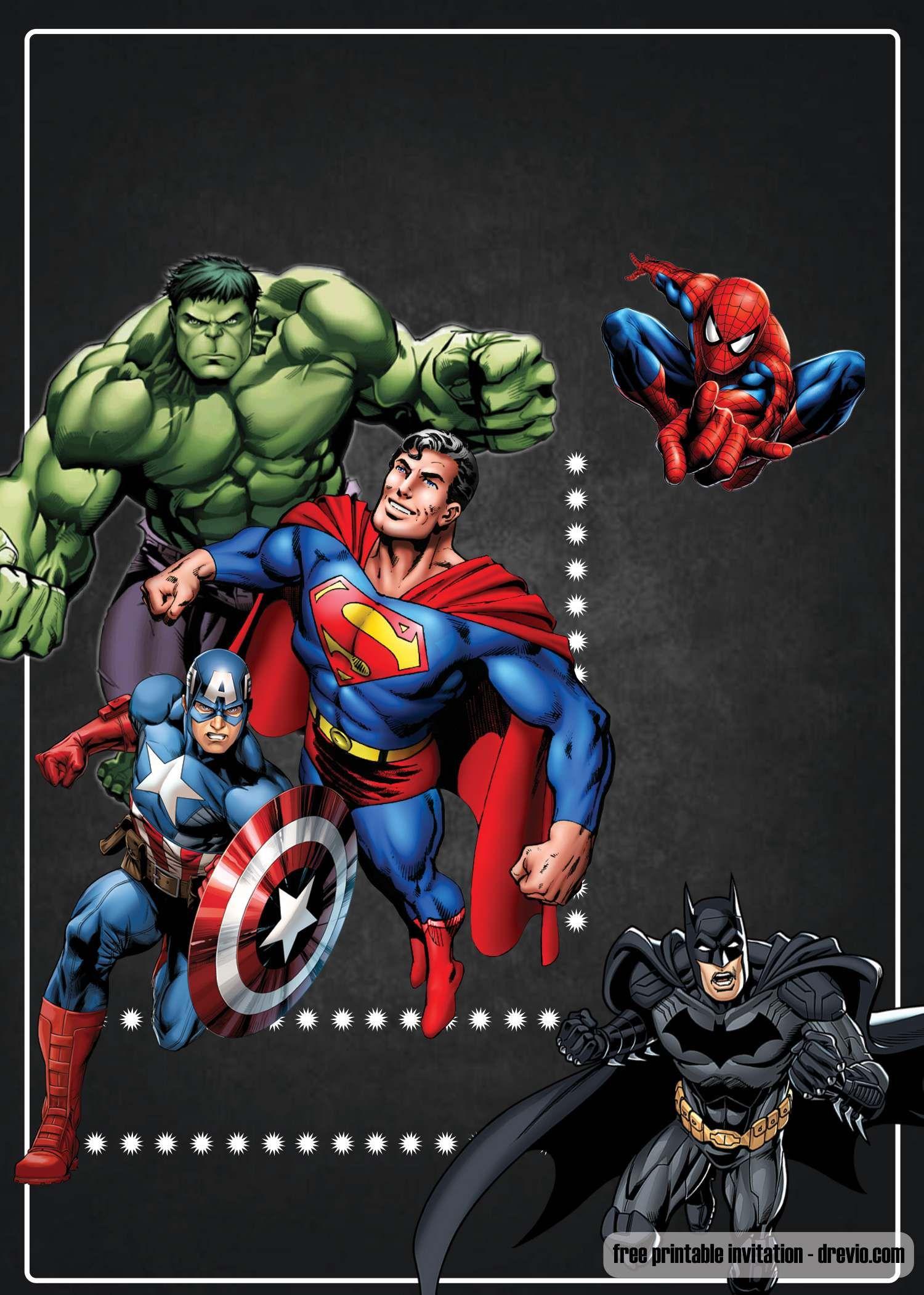 Free Printable Chalkboard Superhero Invitation Template Decoracao Vingadores Festa Infantil Aniversario Super Herois Festa Dos Vingadores