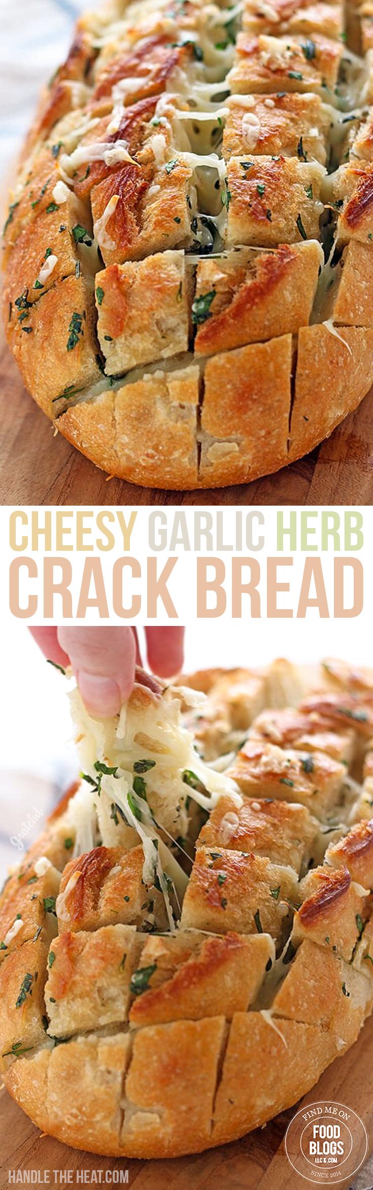 Cheesy Garlic Herb Crack Bread Recipe @FoodBlogs.com