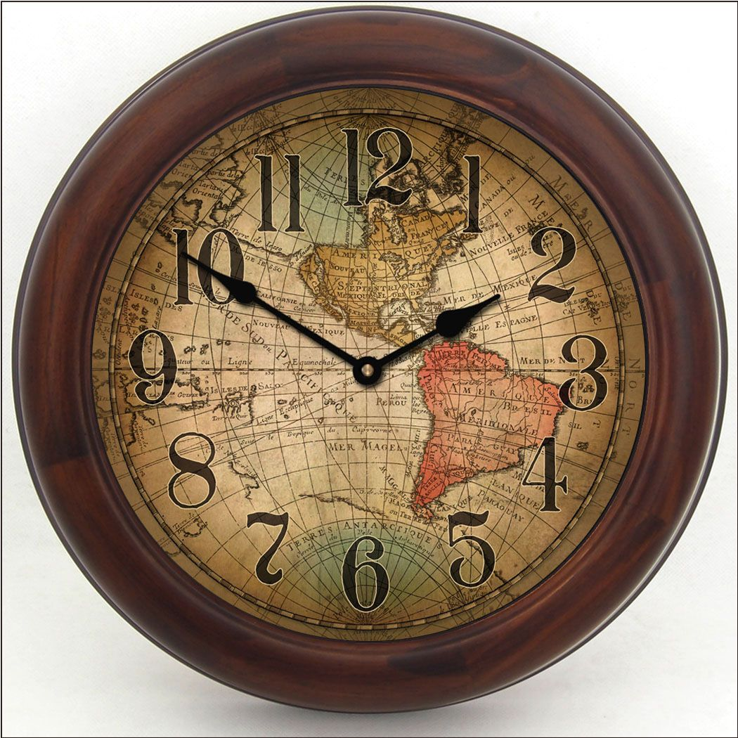 7492339d33b Map clock - Vincenzo World Map Clock brn frm
