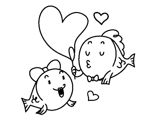 Dibujo de Pez enamorado para colorear   InLoVe   Pinterest