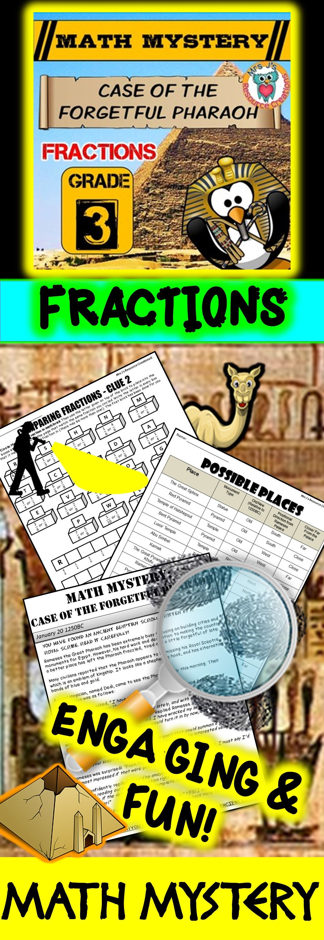 3rd Grade Fractions Review Math Mystery Fractions