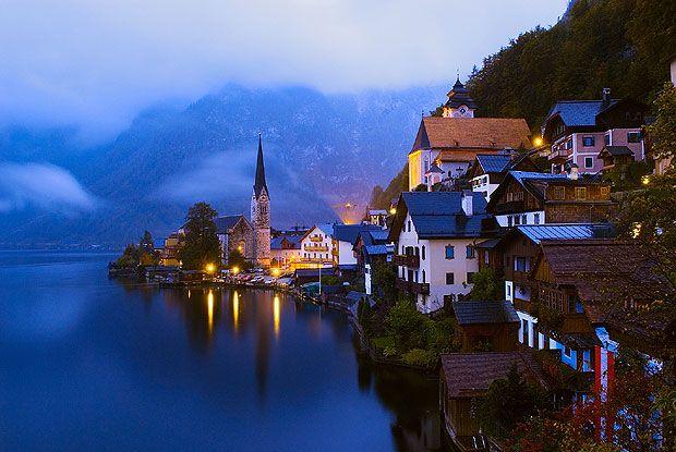 Twilight at Hallstatt, Austria