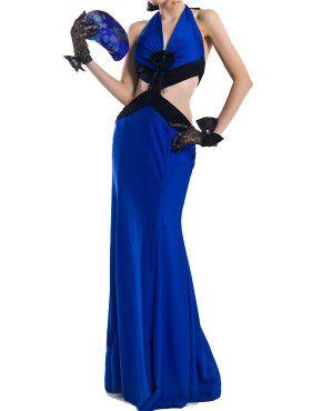 Sexy blue halter neckline backless long-length dress  US$68.50