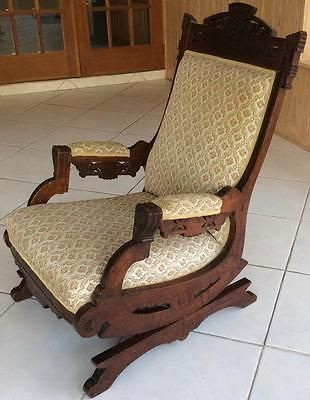 Antique 1870 Eastlake Rocking Chair Carved Walnut