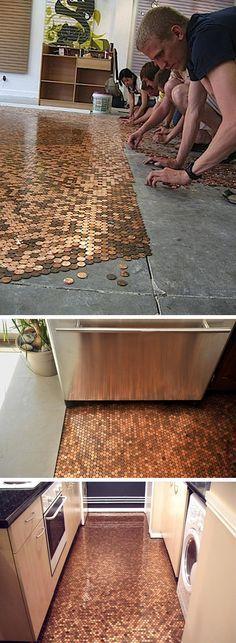 Hermoso piso hecho con pennies