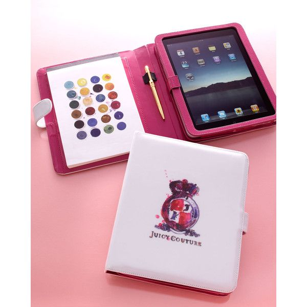 """I need to find this!! Juicy Couture """"Watercolor Crest"""" Ipad Case & Notepad found on Polyvore"""