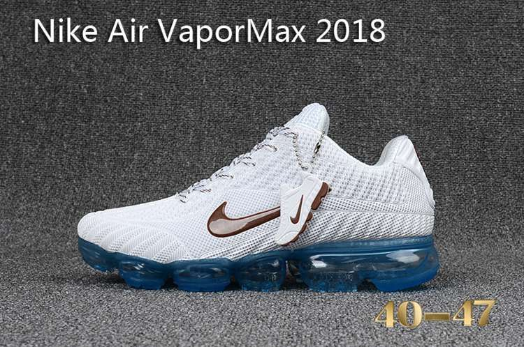 5aa1ba98633141 Nike 2018 Nike air Vapor MAX 2018 KPU Running Men White Brown Blue 40-47