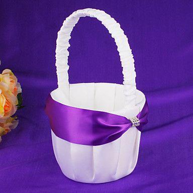 Flower Basket With Blue Ribbon Flower Girl Basket – AUD $ 18.58