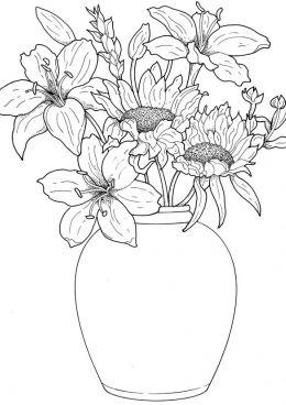 Картинки по запросу букет весенние цветы раскраска ...