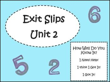 McGraw Hill My Math 3rd grade Exit Slips for Unit 2Each exit