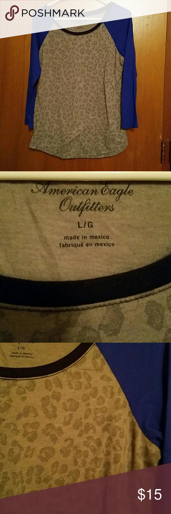 3/4 sleeve tee American Eagle 3/4 sleeve tee. Grey leopard print with blue sleeves. Black trim Tops Tees - Long Sleeve