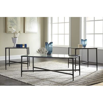 3 piece living room table set french style zipcode design melanie coffee products