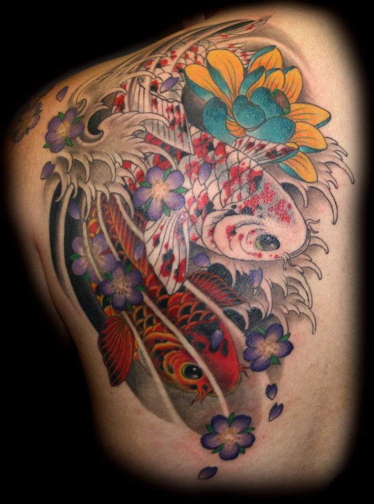 Koi tattoo color meaning image koi fish tattoos meaning for Japanese coy fish tattoo