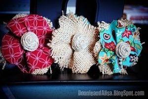 homemade burlap flowers. by fannie