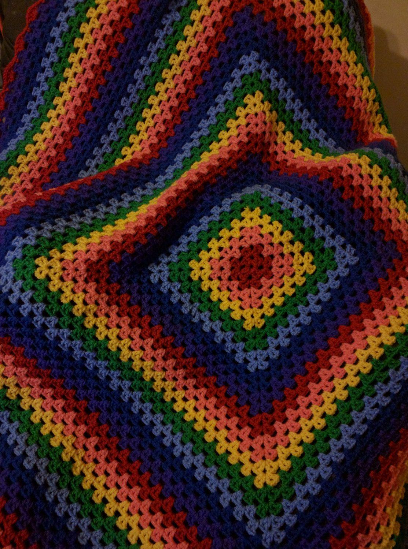 Afghan, Blanket, Throw, Rainbow, LGBTQ, PRIDE, Hippie, Woodstock ...