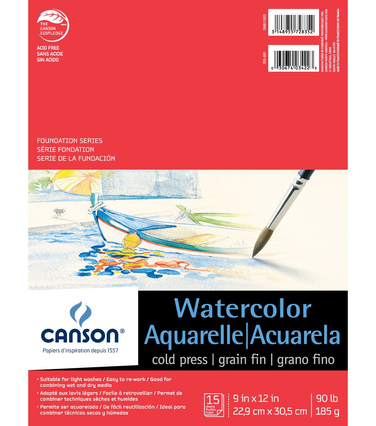 Canson 15 Sheets 9 X12 Foundation Series Watercolor Pad