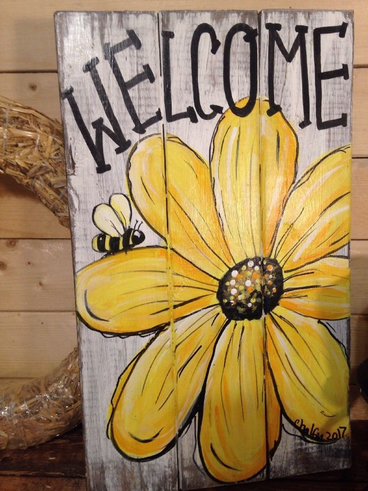 WELCOME Daisy Primitive Rustic Pallet PORCH Country Handmade DOOR SUNFLOWER BEE