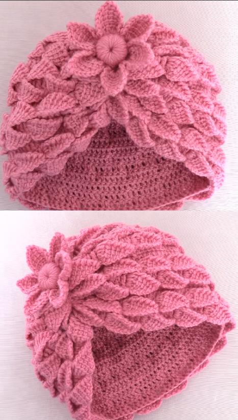 crochet hat with leaf braids | gorros | Pinterest