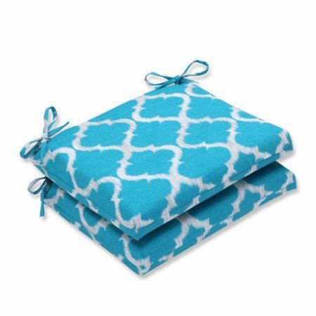 Pillow Perfect Outdoor/ Indoor Kobette Teal Squared Corners Seat Cushion (Set of 2), Blue