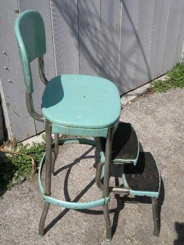 Retro Mid Century 50 S Turquoise Metal Kitchen Step Stool