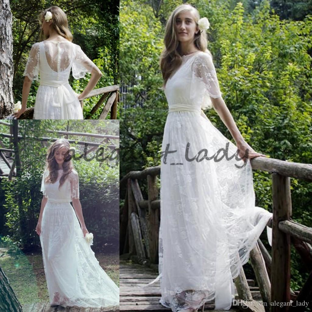 Lace Fl Bohemian Country A Line Wedding Dresses 2018 Custom Make Half Sleeve Full Length