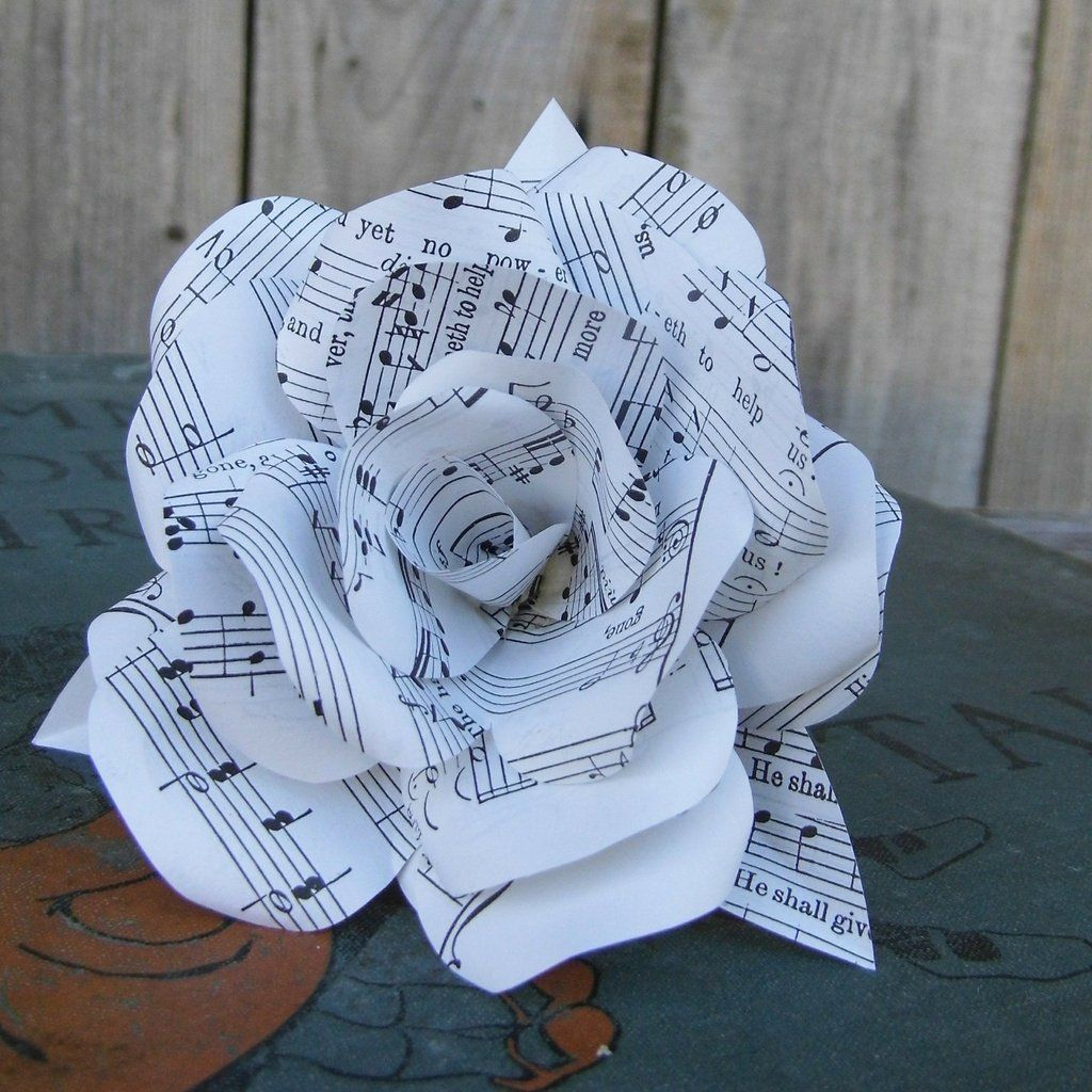 Handmade Sheet Music Paper Flower Rose Music Sheets Handmade