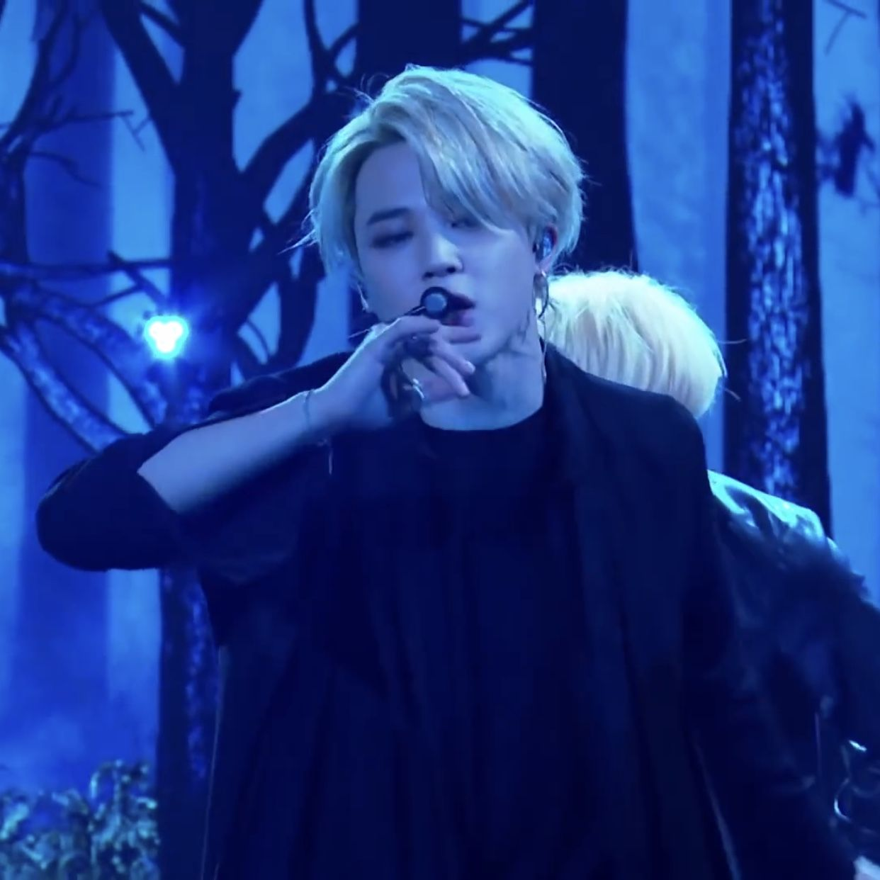 ic: Close up of Jimin during BTS's performance of 'Black Swan' at The Late Late Show