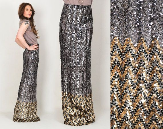 vintage 70s SEQUIN chevron Maxi Skirt S M silver gold striped high ...