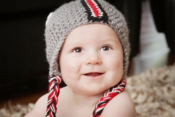 OHIO STATE Helmet Hat Scarlet and Grey by HotOffTheHookCrochet, $29.00 @Katie Glick our September baby had this and you need it too for your October baby! Thought of it when you made your big FB announcement! She will put sparkles if you have a girl :)
