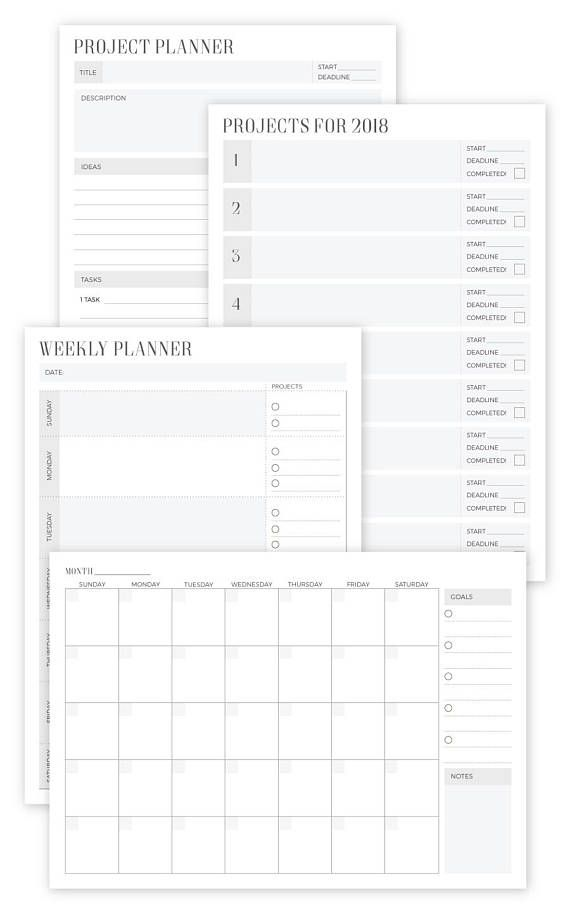 Project Planner Printable Weekly Planner Calendar Planner Calendars