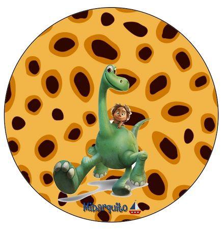 Topper Stickers Etiquetas Redondas Un Gran Dinosaurio