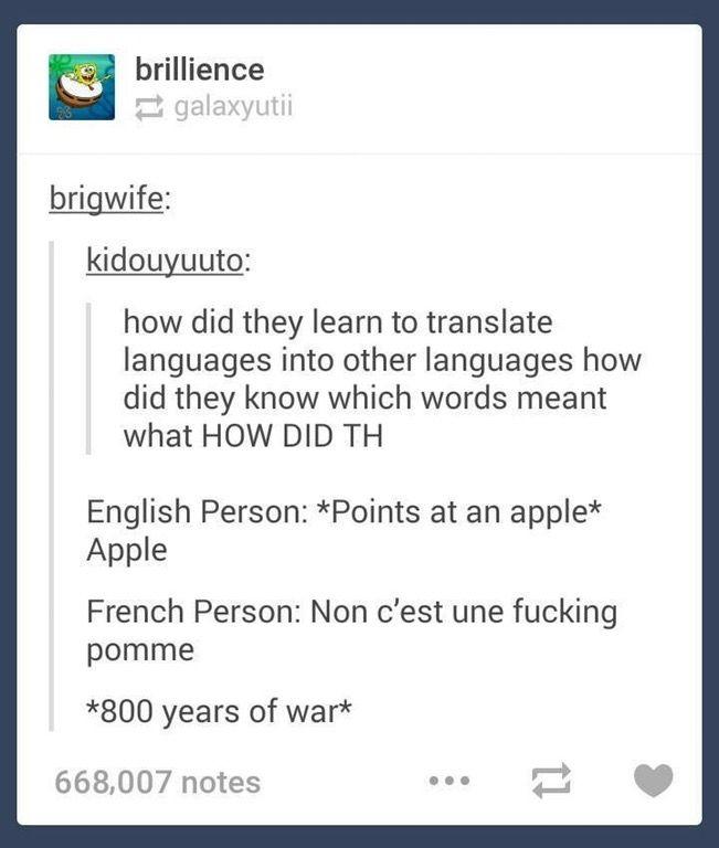English Vs French Tumblr Funny Tumblr Posts Tumblr Funny Jokes