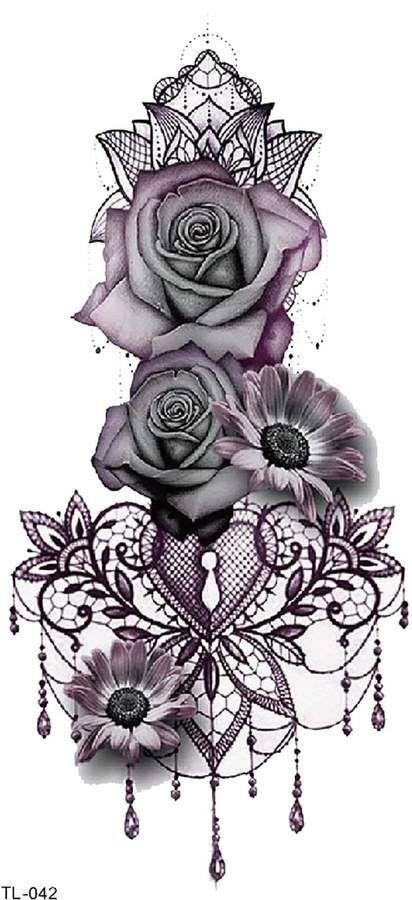 Photo of Shein Flower & Heart Tattoo Sticker