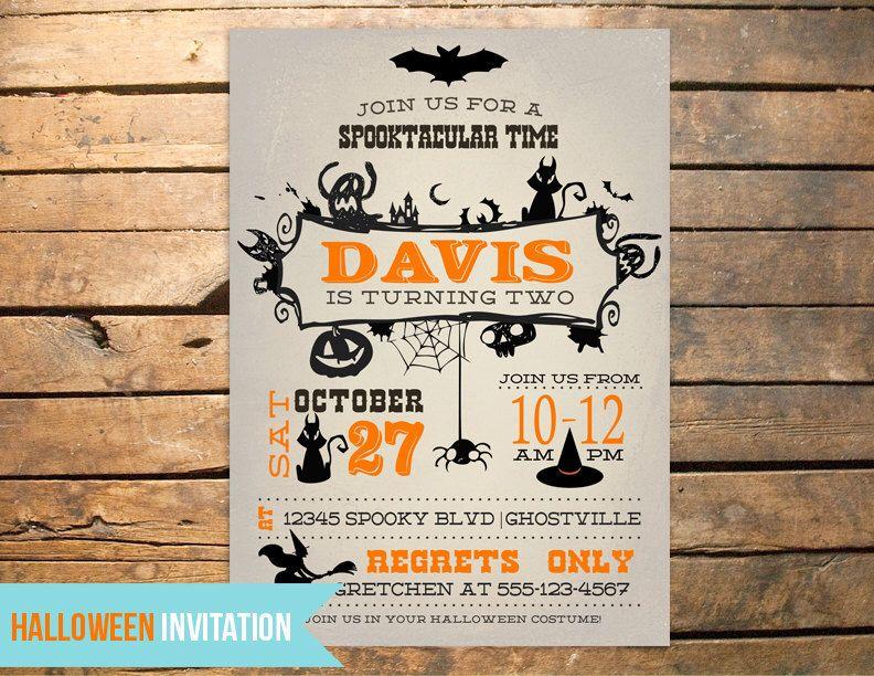 Vintage Halloween Birthday Invitation PLUS Thank You Note By 3LittleMonkeysStudio On Etsy Listing 108852483