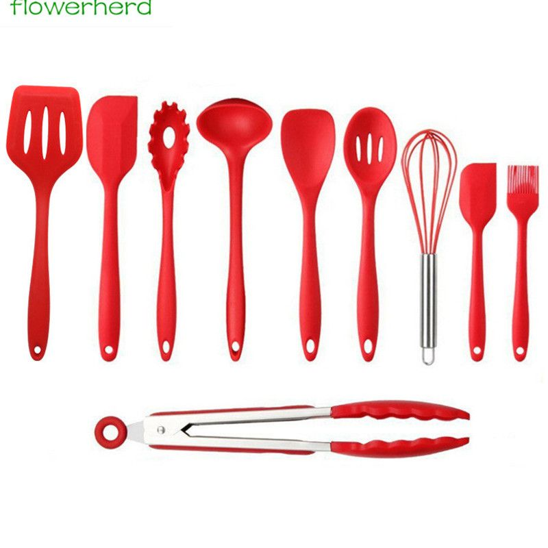 10pcs Heat Resistant Silicone Cooking Set Non Stick Kitchen Utensils Pastry Baking Tool Sets Spoons Turners