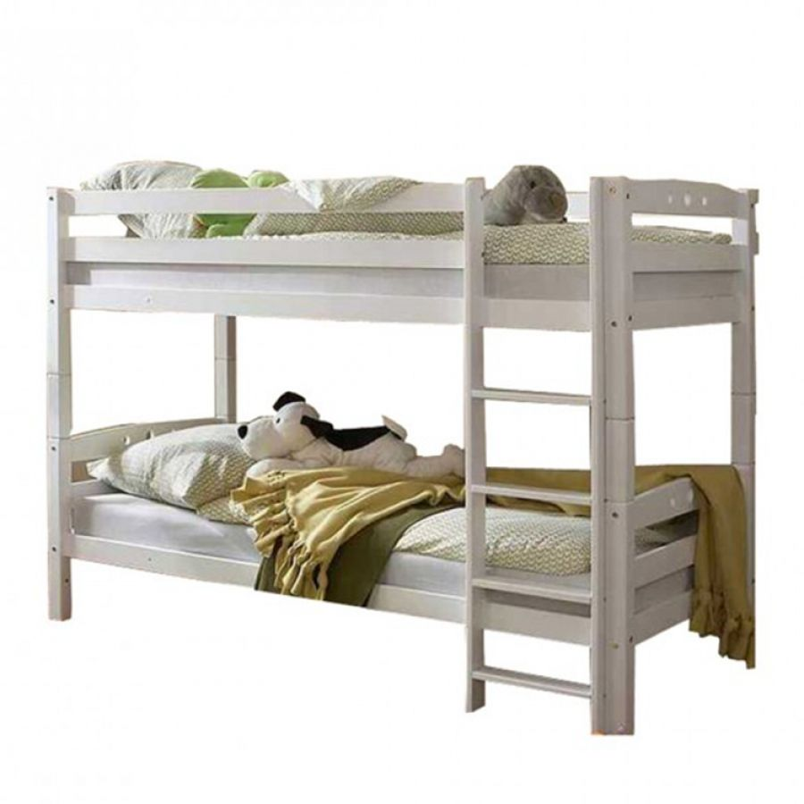 Letto a castello lupo ii legno massello di faggio bianco 379 dimensioni larghezza 98 cm - Altezza letto a castello ...