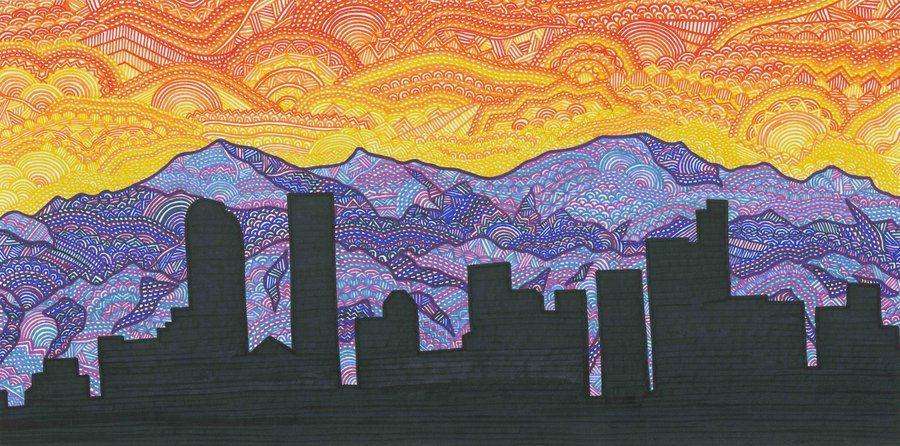Denver Skyline By Dylanmark On Deviantart Colorado Painting