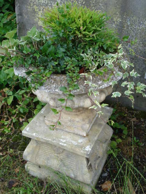 Urn on a pedesta with greens & ivy - from ATELIER DE CAMPAGNE: Jardinières