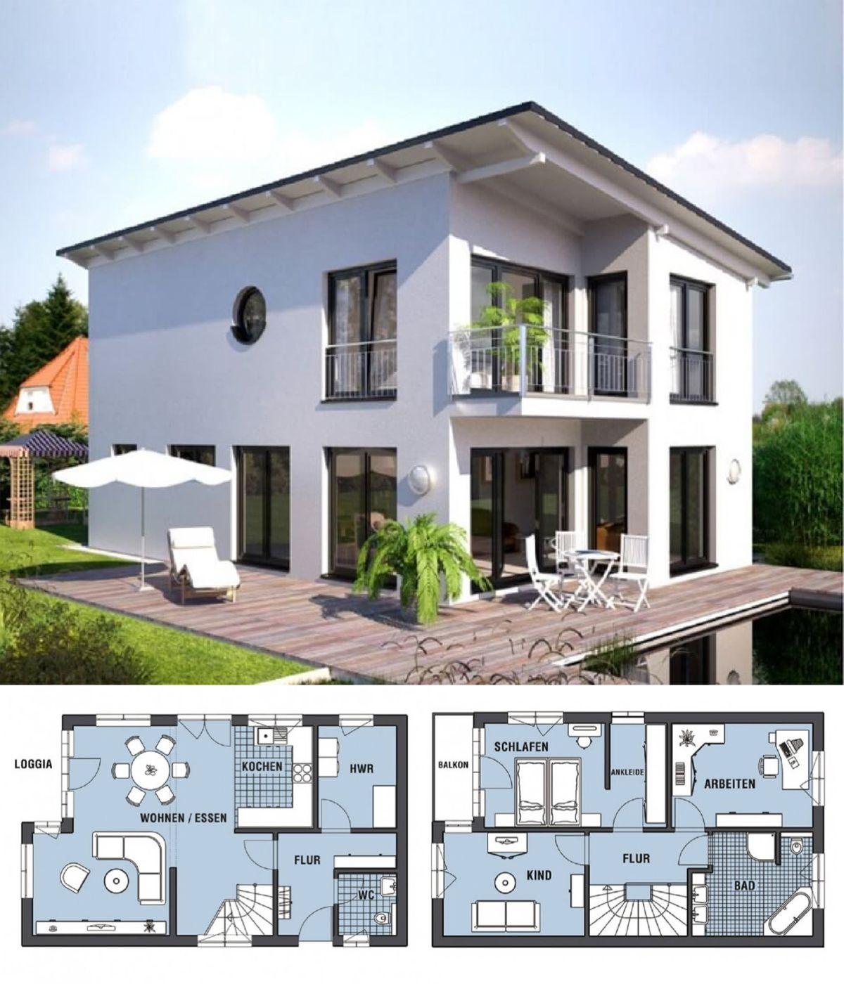 Einfamilienhaus neubau modern mit pultdach architektur loggia hausbau ideen grundriss - Architektur einfamilienhaus modern ...