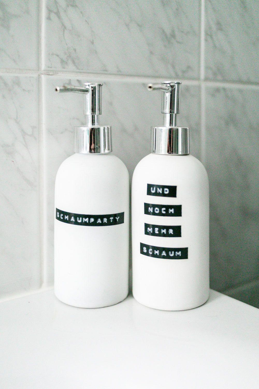 Seifenspender selbst beschriften Tipps Badezimmer verschönern The