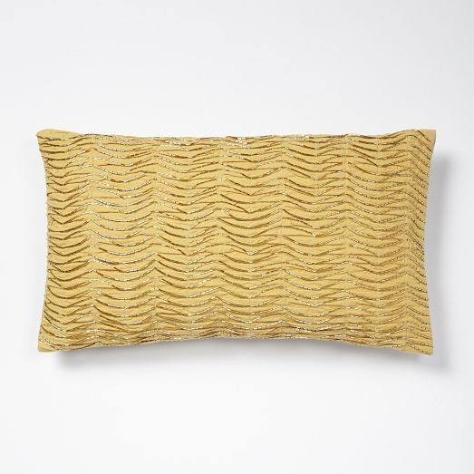 for the sofas... Beaded Waves Pillow Cover - Horseradish | West Elm