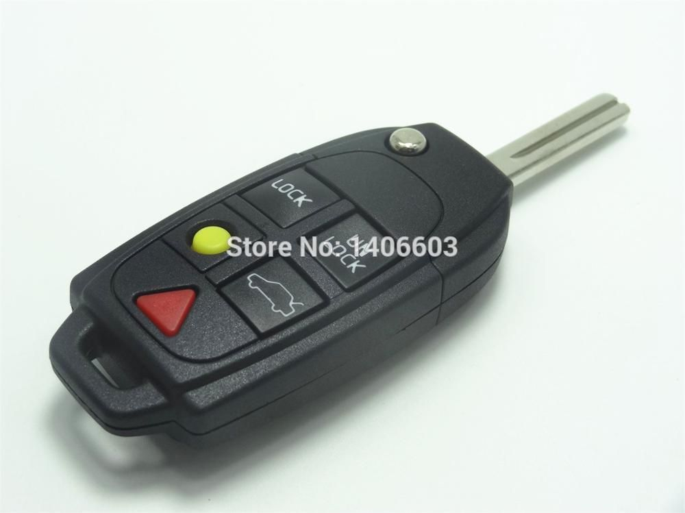 2pc 5 Buttons Remote Case Flip Key Shell Part Fit For Volvo S60 S80 V70 Xc70 Xc90 Fob Auto Parts No Remote No Ch Car Key Replacement Replacement Car Volvo S60