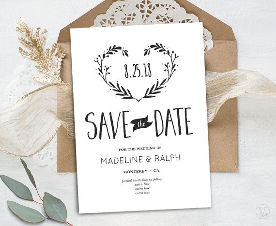 save the date template printable save the date card by vinewedding