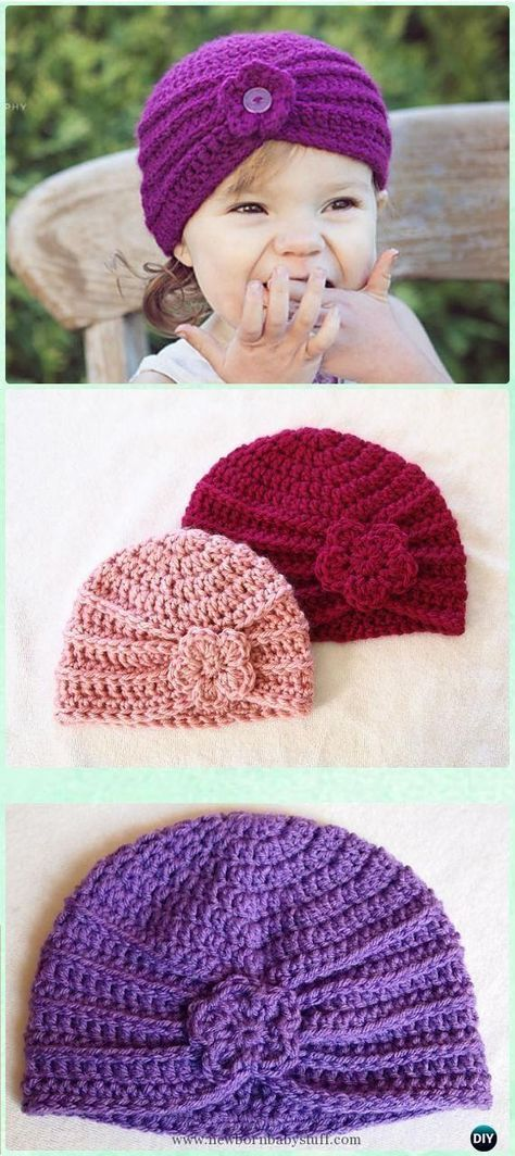 Crochet Baby Hats Crochet Textured Turban Free Pattern - Crochet ...