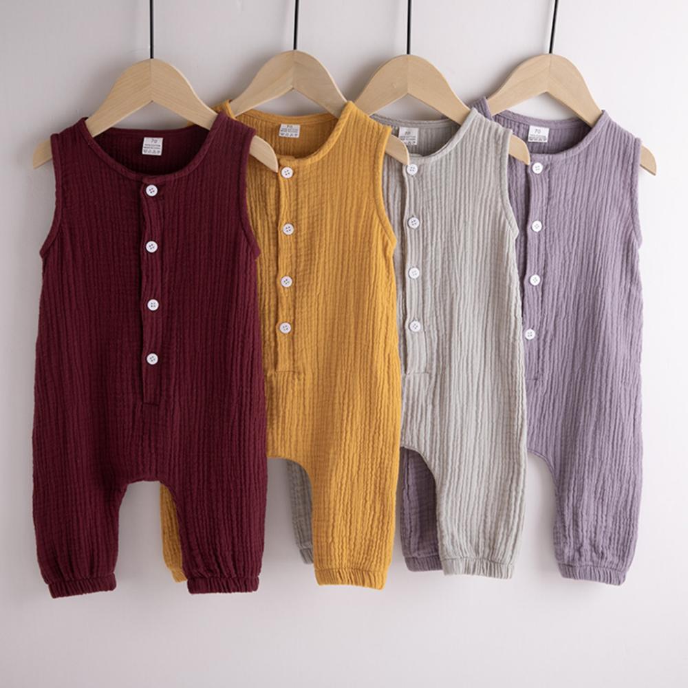 Newborn Infant Baby Boys Girls Button Solid Vest Summer Romper Jumpsuit Clothes
